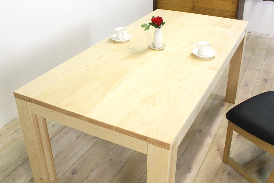 天然木・無垢材をふんだんに使用した流れ杢の美しい風雅ダイニングテーブル メープル