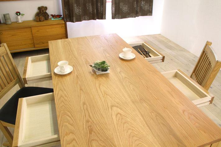 風雅ダイニングテーブル (ホワイトオーク シンプル)#04