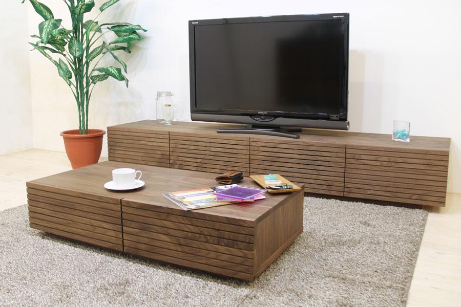 スリットデザイン 天然木、無垢使用のローテーブル 風雅