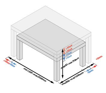ダイニングテーブルサイズバリエーション説明図