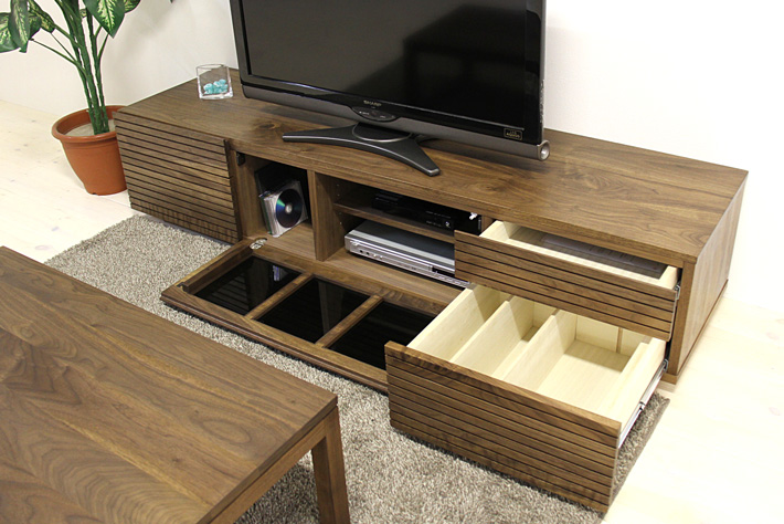 天然木・無垢を使ったテレビ台・テレビボード 風雅  -タイプ2 ウォールナット・ウォルナット#08