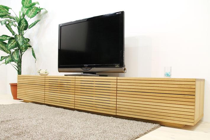 天然木・無垢を使ったテレビ台・テレビボード 風雅  -タイプ2 ホワイトオーク 幅2700mm