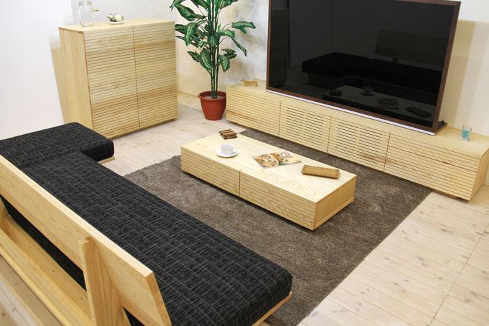 天然木・無垢を使ったテレビ台・テレビボード 風雅  ホワイトアッシュ#09