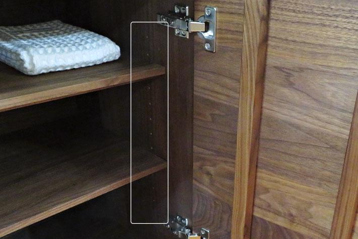 細かく設定できる可動棚