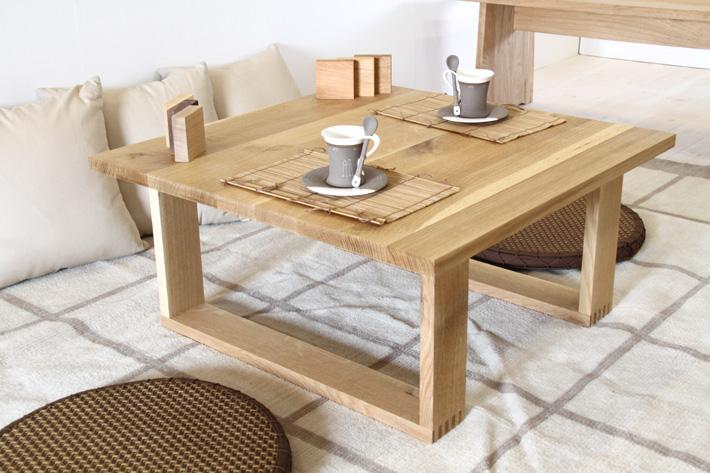 節を活かした天然木、無垢使用のローテーブル 彩美