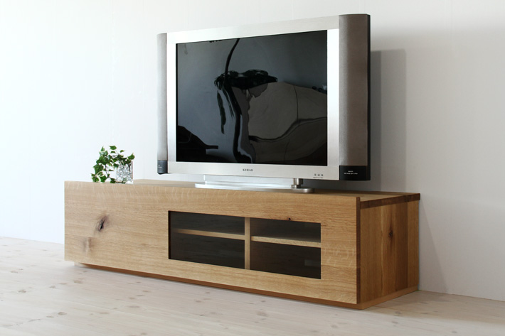 彩美テレビボード ホワイトオーク 幅1500 ガラスタイプ