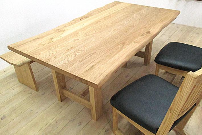 然 ダイニングテーブル 1650mm クリ材 イメージ2