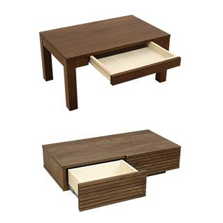 天然木・無垢材使用のローテーブル引き出しタイプ