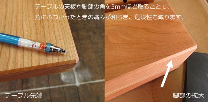 テーブルの天板や脚部の角を3mmほど取ることで、角にぶつかったときの痛みが和らぎ、危険性も減ります。
