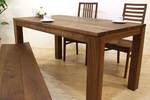 無垢の引き出し付きダイニングテーブル 風雅ダイニングテーブル 幅1650mm×奥行850mm ウォールナット