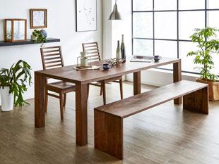 天然木・無垢のダイニングテーブル 凛 幅1650mm 奥行き850mm ウォールナット