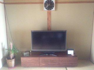 天然木・無垢のテレビ台風雅ウォールナットW1500-設置3