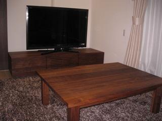 天然木・無垢のテレビボード風雅ウォールナットW1500-2