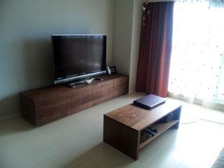 天然木・無垢を使用したテレビ台-風雅ウォールナットW2000-4