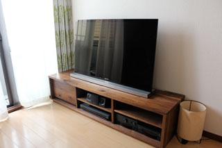 天然木、無垢のテレビ台-彩美ウォールナットW1500-1