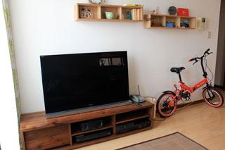 天然木、無垢のテレビ台-彩美ウォールナットW1500-2