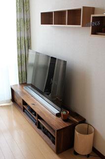 天然木、無垢のテレビ台-彩美ウォールナットW1500-5