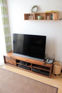 天然木、無垢のテレビ台-彩美ウォールナットW1500-6