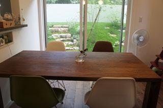天然木・無垢を使用した大川家具ダイニングテーブル凛ウォールナットW1800-1