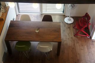 天然木・無垢を使用した大川家具ダイニングテーブル凛ウォールナットW1800-4
