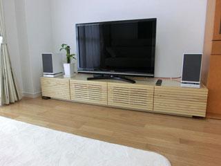 天然木・無垢のテレビ台W2000ホワイトアッシュ2