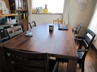天然木・無垢のダイニングテーブルW1800ウォルナット1