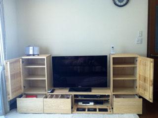 天然木・無垢を使用したテレビ台W1200とサイドキャビネット-ホワイトアッシュ風雅1