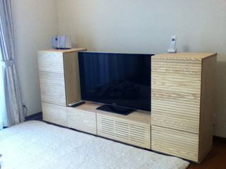天然木・無垢を使用したテレビ台W1200とサイドキャビネット-ホワイトアッシュ風雅2
