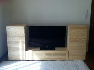 天然木・無垢を使用したテレビ台とサイドキャビネット-ホワイトアッシュ風雅2