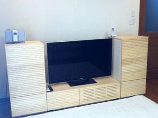 天然木・無垢を使用したテレビ台とサイドキャビネット-ホワイトアッシュ風雅1