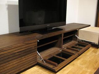 天然木・無垢のテレビボードW2400ウォールナット風雅3