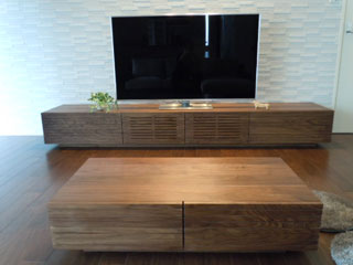 天然木・無垢-センターテーブルW1000-ウォールナット-風雅
