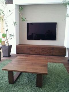 天然木・無垢のリビングテーブル-ウォールナット-彩美1