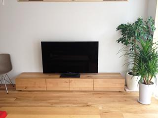 天然木・無垢のテレビ台-W2400-ホワイトオーク-風雅1