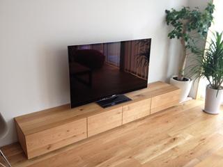 天然木・無垢のテレビ台-W2400-ホワイトオーク-風雅2