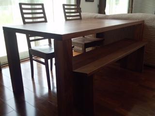 天然木・無垢のダイニングテーブル-ウォールナット-W1650-凛4