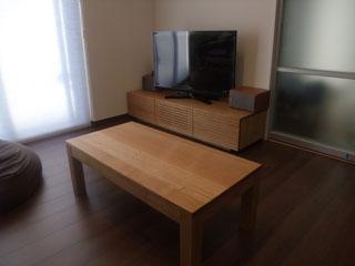天然木・無垢のテレビボード-W1500-ホワイトオーク-風雅1