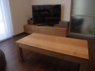 天然木・無垢のテレビボード-W1500-ホワイトオーク-風雅2
