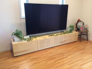 天然木/無垢のテレビボード-幅2400-ホワイトアッシュ-風雅タイプ2-1