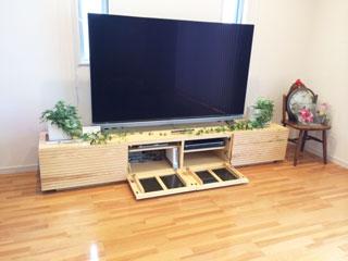 天然木/無垢のテレビボード-幅2400-ホワイトアッシュ-風雅タイプ2-3