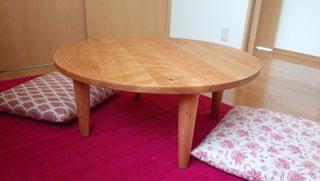 天然木の丸テーブル-ブラックチェリー-オーダー