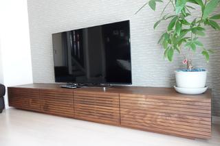 ウォールナット-無垢のテレビボード-幅2400-風雅2