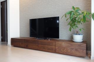 ウォールナット-無垢のテレビボード-幅2400-風雅3