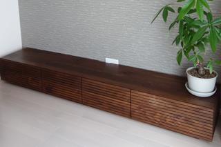 ウォールナット-無垢のテレビボード-幅2400-風雅5