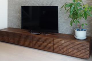 ウォールナット-無垢のテレビボード-幅2400-風雅6