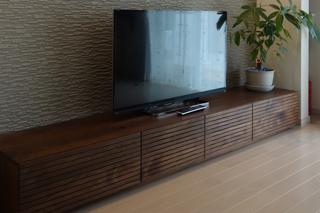 ウォールナット-無垢のテレビボード-幅2400-風雅7