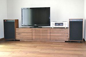天然木ウォールナットのテレビ台W1500-風雅タイプ2-2