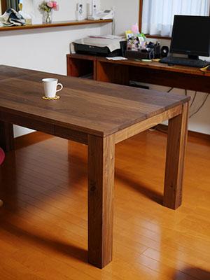 天然木のダイニングテーブル-ウォールナット4