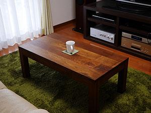 天然木のリビングテーブル-ウォールナット1