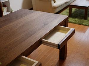 天然木のリビングテーブル-ウォールナット3